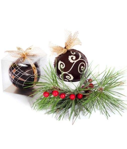 Boules de Noël Corporatif chocolat fin - DouceSoeur - Chocolaterie Montréal